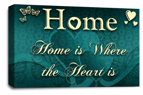 Home Quote Wall Art Picture Cream Teal Love Print